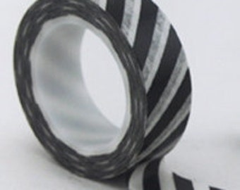 CLEARANCE Black and White Diagonal Stripe Washi Tape  15mm x 10 meters