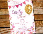 Pink Glitter Balloon Party - Invitation Only - Instantly Downloadable and Editable File - Personalize at home with Adobe Reader