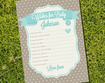 Wishes for Baby Card - Advice Card - Baby Shower Game - Instant Downloadable and Editable File - Personalize at home with Adobe Reader