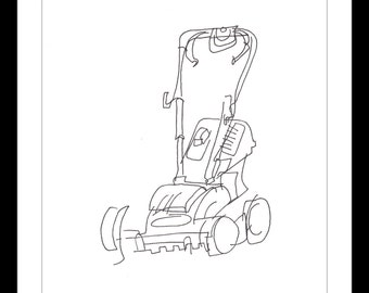 """Original Illustration.""""Lawnmower"""" - Pen and ink blind contour line drawing of a very styalized lawnmower. A4"""