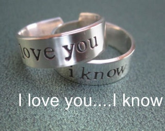 I love you  I know rings  for  2 rings  stamped in Solid Sterling Silver    not plated