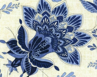 Caprice Floral by Chong-a Hwang - Timeless Treasures CAPRICE-C9763-BLUE (sold by the 1/2 yard)