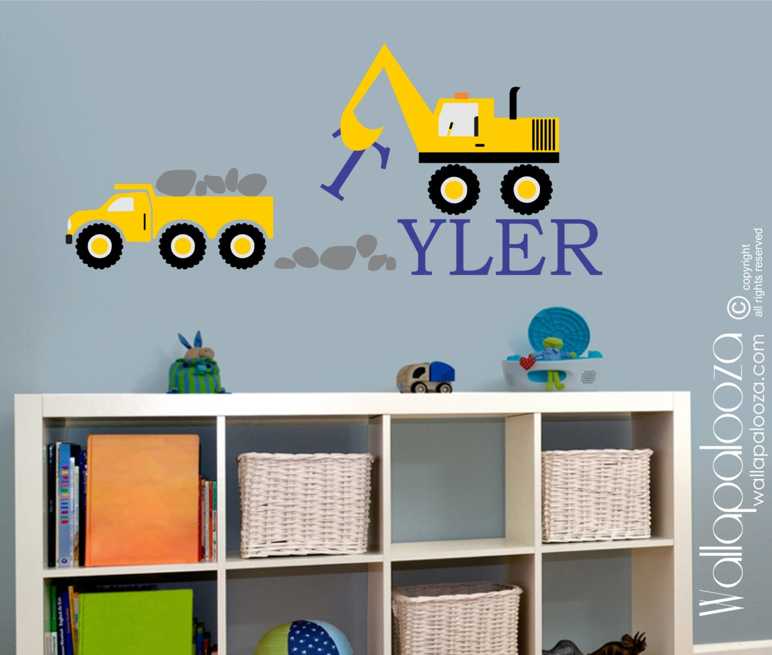 construction kids wall decal nursery wall decal vinyl wall