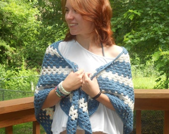 Hand Crocheted Denim Blue and Ivory Triangle Shawl