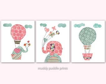Nursery art print, Kids room wall art, Nursery decor, Baby Nursery, set of 3 print - Elephant and balloons