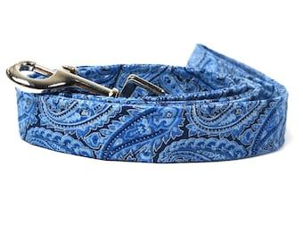 Blue Dog Leash, Paisley Design Dog Leash, Dog Lead