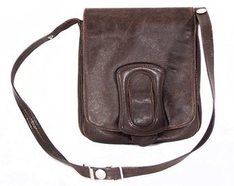 Vintage 60's Dark Brown Soft Leather Shoulder Purse Bag