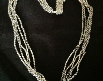 Vintage Multi Strand Silver Crystal & Chain Necklace