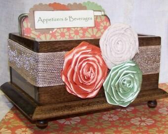 RECIPE BOX, Dividers, Recipe Cards, Sage Green and Orange, Burlap, Rustic Recipe Box, Custom Colors