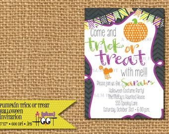 Trick or Treat Pumpkin Halloween Invitation (5x7, DIY, Printable)