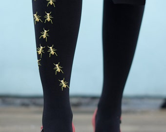 Gold or Silver Embellished Ant Tights