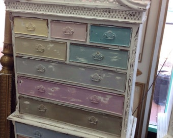 Vintage Inspired Shabby Chic Multi-Colored Queen Anne Cabinet Dresser