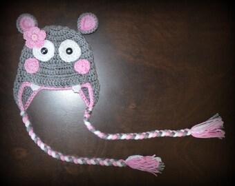 Crochet Hippo Earflap Baby Beanie Hat  Photo Prop Custom Made Boy Girl
