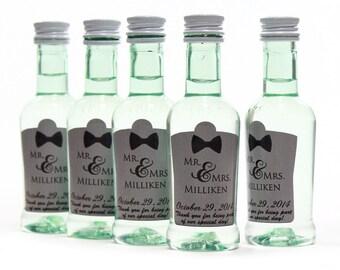 Mini Bottle Custom Label, Wedding Favors, Bacardi Rum Labels, Bow Ties on Gray