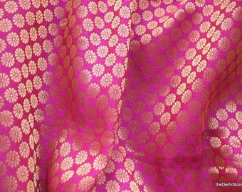 Fuchsia and Gold Poly Silk Floral Brocade Fabric by Yard