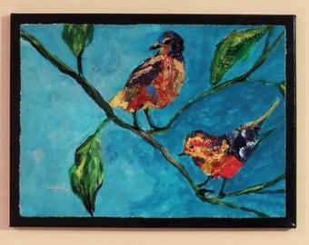 Color Birds- original acrylic painting of birds on a limb-wildlife painting
