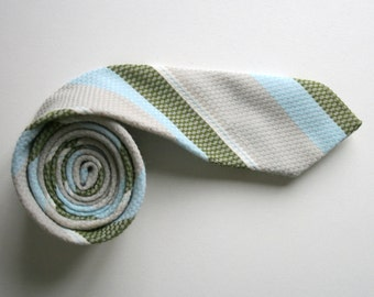 Striped skinny necktie, 80's vintage necktie, light gray blue and green