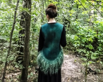 Eco and boho style fashion felted vest from natural silk and wool (with hand-dyed silk fragments and antique lace) OOAK - to order only!