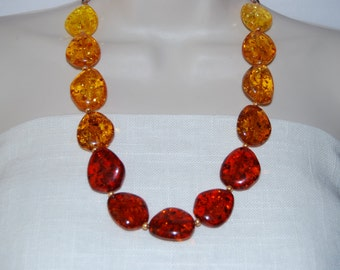Ombre Fall Colors Statement Necklace Beaded Necklace Chunky Bold