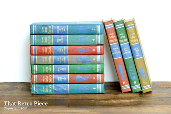 THE JUNIOR CLASSICS - 10 BOOK SET - COLLIER POPULAR EDITION - HARDCOVER - 1948