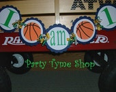 Basketball Themed Sports Birthday Banner . I AM 1 Banner . Basketball Birthday Party Decorations in Navy, Green and White