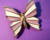 Vintage NAPIER Lavender Purple & Cream Enamel Butterfly Insect Bug Brooch Pin ~ Signed Jewelry