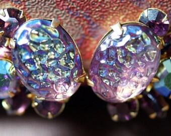 Vintage Beau Jewels Aurora Borealis Amethyst Rhinestone Clip Earrings