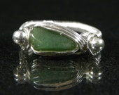 SALE 50% OFF Wire Wrapped Jade Ring Size 9.75