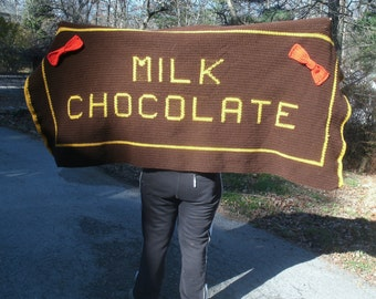 Crochet Afghan Blanket Milk Chocolate Candy Bar Twin Size Throw kids home decor