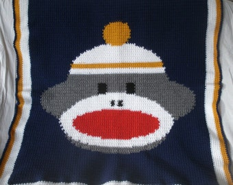 "Sock Monkey Blanket Toddler Crochet Afghan Lap Throw 39"" x 34"""