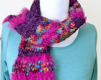 Womens Winter scarf, purple knitted scarf, hand knit scarf, neck scarf,