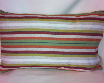 Custom Single Designer Fabric with Colorful Stripe Design-Single Accent Kidney Pillow Cover in Two Colors-Free Shipping.