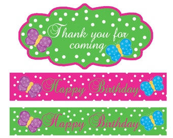 Butterfly Collection Water Bottle Labels and Goodie Bag Labels (Instant Download)