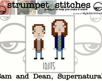 Sam and Dean, the Supernatural Idjits: TinyGuy Cross Stitch Pattern