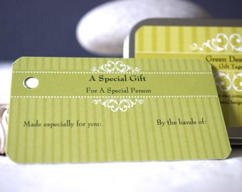 Gift Tags . Knitting Crochet Gift Tags with fiber info . Craft Gift Tags in Tin Can
