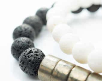 Volcanic Black Lava Bracelet with Pyrite Beads . White Sponge Coral Bracelet . Set . Rustic . Aromatherapy