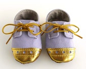 Baby Girl Shoes Light Purple Lilac Canvas with Gold Brogued Leather Soft Sole Shoes Oxford Wingtips Wing tips