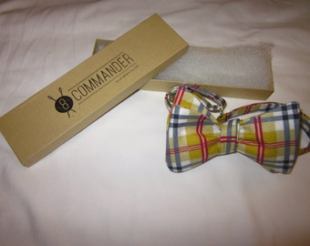 Mustard Yellow Plaid Bow Tie
