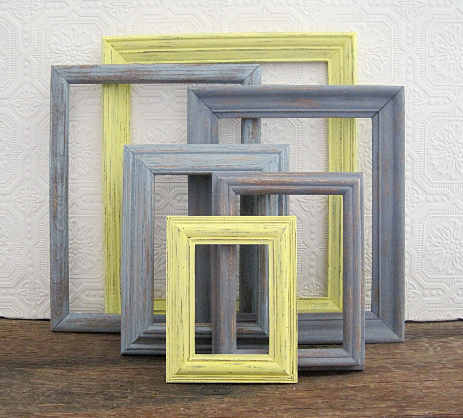Rustic Picture Frame Set Of 6 Open Empty Gray Wall Decor