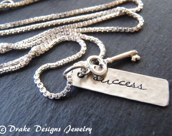 sterling silver key to success necklace graduation gift