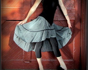 Steampunk Pirate Skirt ~ Black and White Pinstripes ~ Size Small to Extra Large XL ~ Bustle Skirt, Stripes, Lolita
