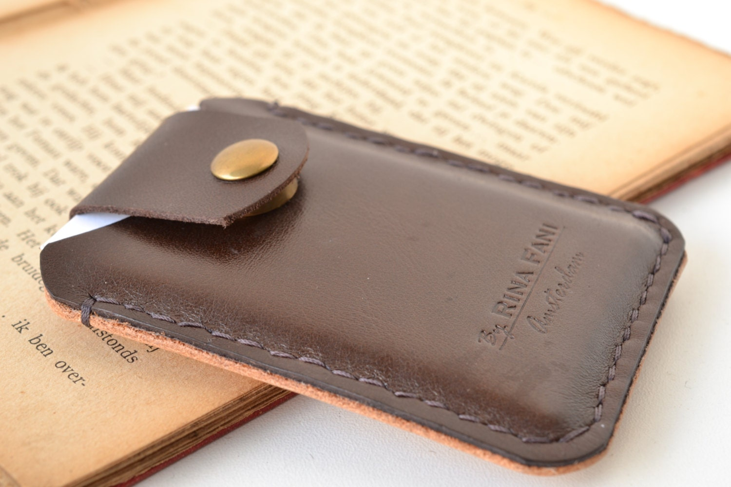 Card holder personalized leather business card wallet for Monogrammed leather business card holder