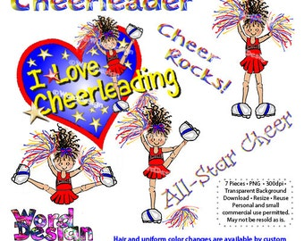 INSTANT DOWNLOAD Cheerleader ClipArt Collection