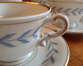 """Syracuse Old Ivory """"Sherwood"""" Footed Teacups and Saucers"""