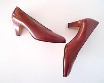 Vintage brown leather high heel pumps shoes size 6 - High Heels Portugal