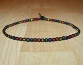Rainbow Choker Rainbow Necklace Rainbow Jewelry for Her Rainbow Glass Bead Black Hemp Choker Necklace Womens Choker Womens Necklace for Her