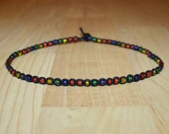 Rainbow Choker Rainbow Necklace Rainbow Jewelry Pride Choker Beaded Choker Necklace Womens Choker Beaded Necklace Hemp Choker Black Choker
