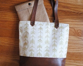 Two-tone Screen-printed Canvas Tote - Metallic Leaf Pattern!
