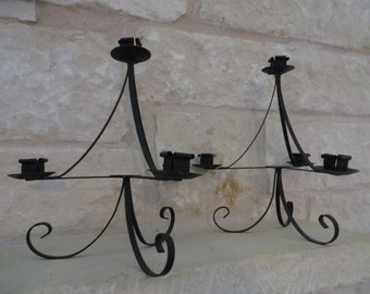 Vintage black metal wrought iron PAIR of candle holders candelabra