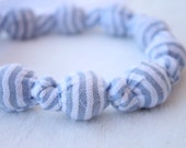 Fabric Necklace,Teething Necklace, Chomping Necklace, Nursing Necklace - Blue Seersucker stripe